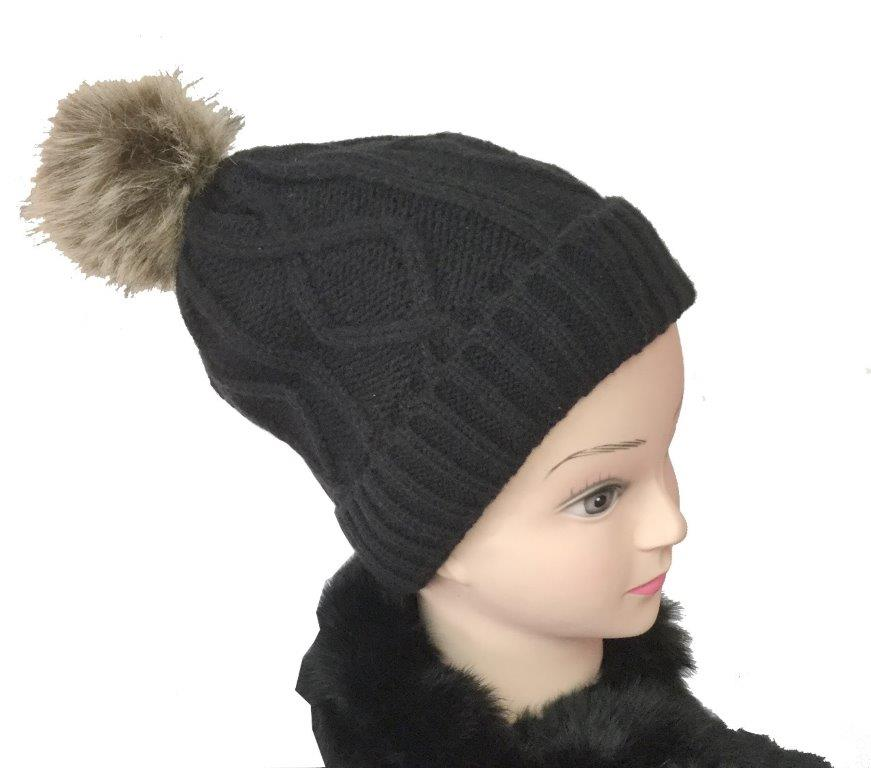 Knitted Hat With Pom Pom Diamond Pattern White Inner Lining