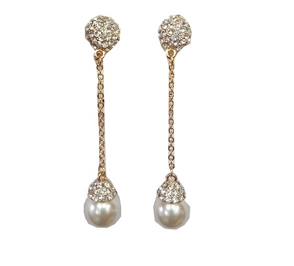 595967a7436a1 Clip earring hanging pearls on gold chain with gold rhinestone studs